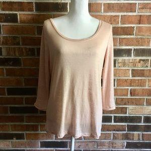 Linen 3/4 sleeve LIVE LOVE LOFT Heather Pink Tee S